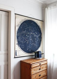 Stylish old building - Wonderful old dresser and map of star constellations on the wall