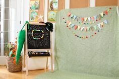 DIY photo booth for dino party - could make a ball garland