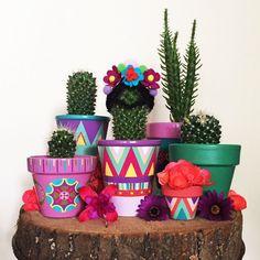 Cactus Pot, Cactus Plants, Pots D'argile, Painted Plant Pots, Head Planters, Flower Pots, Flowers, Trees To Plant, Holiday Crafts