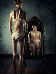 """""""An insight to anorexia nervosa"""" Not entirely accurate. This isn't what it's like for me. I don't literally see a 300lb person looking back at me, I just see the fat that is there, not the fat that I've lost, if that makes any sense. And my perception has changed, so when I look in the mirror and see an average-weight person, I think I am fat, because average is fat now and thin is normal and dangerously, scary thin is desireable thin."""