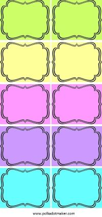 free labels, printable labels, party labels, bracket labels, party decorations, pink labels, lime green labels, purple labels, orange labels