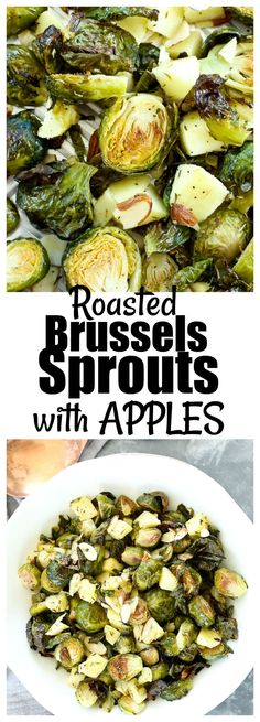Roasted Brussels Sprouts with Apples and Almonds Recipe #healthy #vegan #glutenfree #sidedish #vegetables Healthy Side Dishes, Vegetable Side Dishes, Side Dish Recipes, Vegan Dishes, Vegetable Recipes, Baked Brussel Sprouts, Brussels Sprouts, Roasted Sprouts, Almond Recipes
