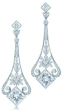 Tiffany OFF! Tiffany and Co Garland diamond chandelier earrings. Princess-cut diamonds carat weight each color grade G clarity grade round brilliant diamonds carat total weight Tiffany Earrings, Tiffany Jewelry, Diamond Chandelier Earrings, Diamond Jewelry, Tiffany Chandelier, Silver Jewelry, Tiffany And Co, High Jewelry, Diamond Are A Girls Best Friend