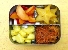 Spaghetti squash and fruit bento in @LunchBots-bentoriffic plant based vegan lunchbox