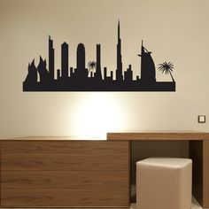 Dubai Skyline Wall Sticker. Bring the essence of Dubai into your home or apartment, whether you live there or not. This Dubai Skyline wall decal is just the accent you need to make that spot on your wall stand out. It'll be the talk of your house parties and all of your friends will be jealous. Go on, get it. http://walliv.com/dubai-in-desert-wall-sticker-wall-art-decal