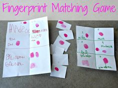 Fingerprint Matching Game/Nancy Clancy Super Sleuth book {amomwithalessonplan}