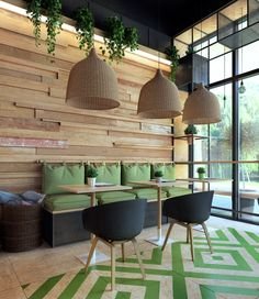 Interior of clean food cafe was created for one of shopping malls in Vladivostok, Russia.The main point was to design bespoke interior according to. Coffee Shop Design, Cafe Interior, Restaurant Decor, Interior, Home Decor, Cafe Decor, Cafe Design, Interior Design, Shop Interior Design