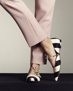 'Aneta' - Black and White Striped Satin Flat Pointed Ballerina – Bionda Castana Online Store