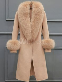 Women's Wool Coat Knee Length Faux Fur Collar Belted Coat In Light Tan – Milanoo… – Most Beautiful Fur Models Faux Fur Collar, Fur Collars, Look Fashion, Fashion Outfits, Womens Fashion, Winter Overcoat, Mode Mantel, Stylish Coat, Belted Coat