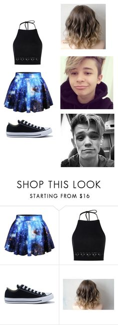 """We Can Be Strong"" by danielbryan ❤ liked on Polyvore featuring WithChic, Boohoo, Converse and barsandmelody"