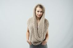 Handknitted cowl. Chunky pattern. Infinity and big scarf. Warm and thick cowl. The cowl is made in a blended merino wool and acrylic. Not itchy.  Color beige, latte  Also the item can be shipped by express shipping (DHL). Than Your order will be dispatched using our DHL courier service and can be delivered in 2-4 working days anytime between 8 am and 6:30 pm PLEASE, WRITE ME YOUR PHONE NUMBER and couriers will contact you to arrange time of delivery.