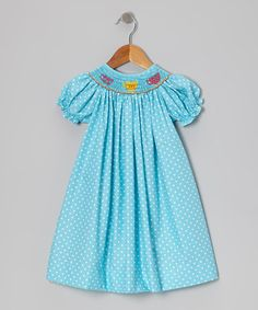Take a look at this Blue Polka Dot Teacup Bishop Dress - Infant, Toddler & Girls by Smockadot Kids on #zulily today!