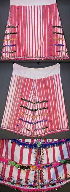 An embroidered 'etek' (skirt)  from the Pomak villages near Biga (Çanakkale prov.).  Part of the traditional festive costume for women.  Mid-20th century.  Handwoven cotton fabric, adorned with (cotton & lurex threads) embroidery, cotton crochet lace with metal sequins, small glass beads, metal & mica sequins, and (cotton or orlon) pom-poms.  (Inv.nr. ete002 - Kavak Costume Collection - Antwerpen/Belgium).
