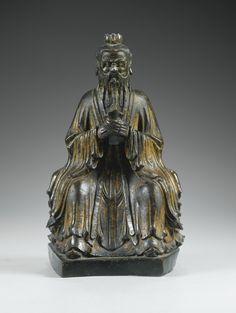 Dignitaire en bronze laqué or, Dynastie Ming,XVIIesiècle