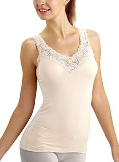 5504fe02bbdc7c ANNY Womens Lace V Neck Cami Tank Top One Size Nude     Click for