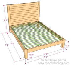 How to build a beautiful DIY bed frame & wood headboard easily. Free DIY bed plan & variations on king, queen & twin size bed, best natural wood finishes, and lots of helpful tips! - A Piece of Rainbow Diy Bed Frame Plans, Diy King Bed Frame, Bed Frame And Headboard, Wood Headboard, Diy Frame, Wooden Bed Frames, Wood Beds, Diy Mattress, Diy Bett