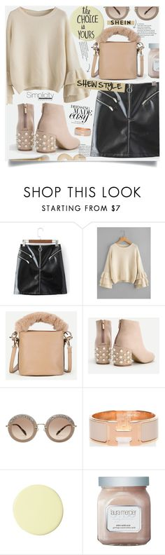 """Shein Nude&Black Style"" by lillili25 ❤ liked on Polyvore featuring Miu Miu, Hermès, Serena & Lily, Laura Mercier and polyvoreditorial"