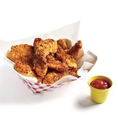 Potato-Crusted Chicken Fingers Budget Cooking Recipe - I did this with Cheez-Its this week, but potato chips would make a yummy crust, too! Cooking Light Recipes, Cooking On A Budget, Budget Meals, Food Budget, Chicken Finger Recipes, Healthy Recipes On A Budget, Healthy Meals, Cheap Recipes, Delicious Meals