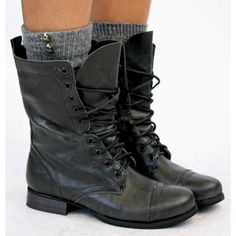 Ladies Worker Army Flat Lace Up Biker Style Military Shoes Ankle Boots... ❤ liked on Polyvore