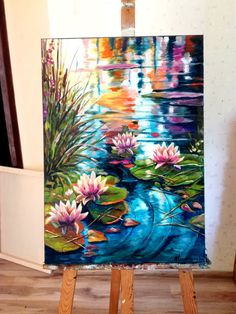 Water Lilies Painting, Acrylic Painting Flowers, Acrylic Art, Flower Paintings On Canvas, Acrylic Painting Canvas, Lily Painting, Art Painting Gallery, Modern Art Paintings, Canvas Painting Tutorials