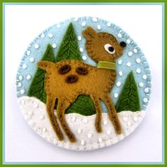 felt deer and forest ornament