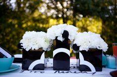 Black & White floral arrangements - modern wedding