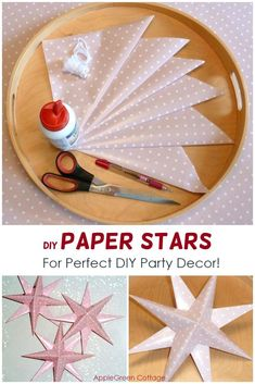 Free tutorial for party decoration - These beautiful DIY paper stars are my No 1 on the list as new year party decor! Craft Projects For Adults, Diy Craft Projects, Craft Tutorials, Decor Crafts, Craft Ideas, Cute Crafts, Easy Crafts, Easy Diy, Nerd Crafts