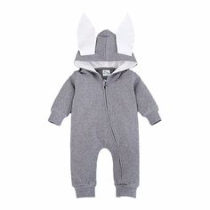Baby's Grey Hooded Cotton Bodysuit with Two Cute Ears, 20% discount @ PatPat Mom Baby Shopping App