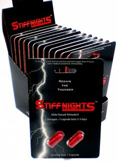 Stiff Nights is your medication. It is completely safe and has not been reported any type of side effects. Please take one capsule approximately thirty minutes prior to the sexual activity. This is a popular male sex enhancer supplement. @ http://www.bestchinapills.com/wholesale-original-best-stiff-nights-2-pills-male-sex-capsules-48-pills.html