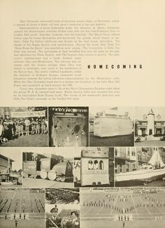 Athena Yearbook, 1936. Ohio University Homecoming celebrations (floats, decorations, and the marching band performing at the football game), Fall 1935, Ohio University Archives