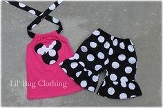 Custom Boutique Clothing Black White Hot Pink Jumbo Dot Minnie Mouse Short Halter Set