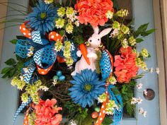 XXL Easter Spring Bunny wreath in deep by FloralArtAndDesign, $168.00