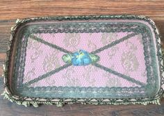 Antique~1920's FRENCH SILK RIBBON WORK ROSES~METALLIC LACE & TRIM PINK PIN TRAY