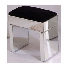 Mirrored Dressing Table Stool Modern Bedroom Furniture Vanity Black Makeup  Glass