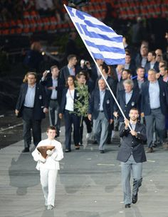 Greece begin the parade of athletes at the Olympic Opening Ceremony a the London 2012 Games.