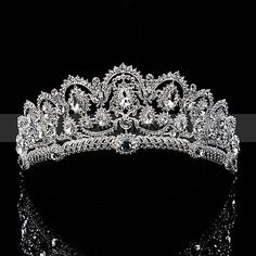 Silver Bridal Tiara Studded with Glittering Rhinestones in Chic Pattern