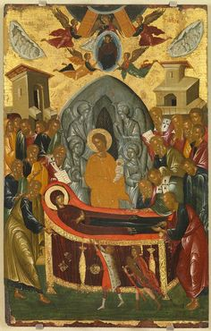 The Assumption of the Virgin Mary, second half of the century, unknown painter of Cretan workshop, the Dormition of the Virgin Mary, the episode of Ieophony and the Metastasis. Byzantine Icons, Byzantine Art, Religious Icons, Religious Art, Archangel Raphael, Raphael Angel, Albrecht Durer, Catholic Art, Orthodox Icons