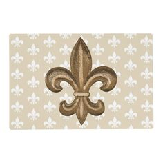 Chic Louisiana cajun french laminated placemat with a gold fleur de lis crest, white patterned background and beige. White Pattern Background, Hammond La, Cajun French, How To Make Breakfast, Beige, White Patterns, Machine Quilting, Baby Quilts, Louisiana