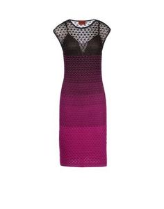 Knee-length sheath with mini cape sleeves and ombre knit and lace stitching.