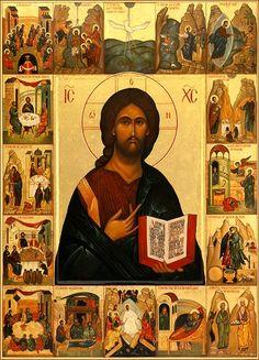 Icône religieuse, orthodoxe, Pentocrator, Jésus