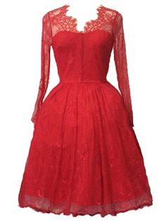 Noble Irregular V-Neck Long Sleeve Red See-Through Ball Gown Dress For Women