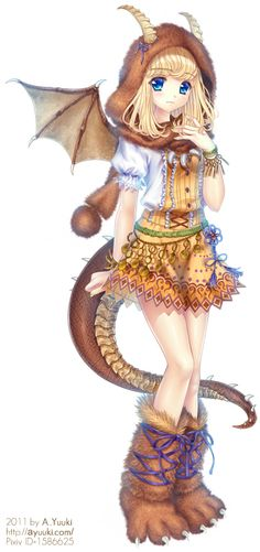 ✮ ANIME ART ✮ dragon girl. . .dragon wings. . .dragon tail. . .horns. . .hood. . .scarf. . .boots. . .claws. . .fur. . .dress. . .lace. . .cute. . .moe. . .fantasy. . .kawaii