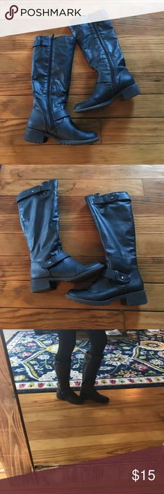 Black riding boots Used but in good condition still Shoes Combat & Moto Boots