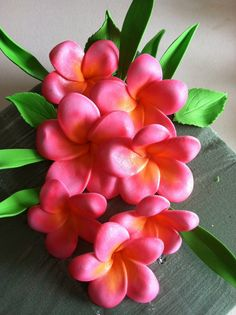 Gum Paste Hawaiian Plumeria Pink and Yellow by SweetEdibles, $13.00