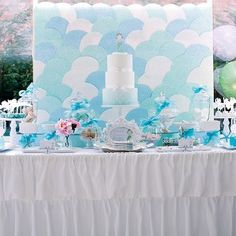 Make background wall to look like under the sea waves and bubbles - maybe cut scrapbook paper into circles and paste on butcher paper or wrapping paper for mermaid party