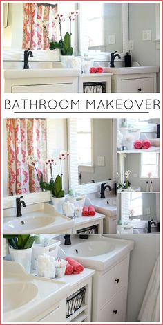 BATHROOM MAKEOVER - Wow. This makeover is gorgeous! White fresh and airy! LOVE