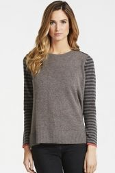 Camilla Blocked Jumper with Striped Sleeves - Front