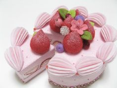 Felt Food Strawberry Cake - Felt Play Food - Fake Cake - Tea Party Felt Cake - Pretend Cake. $55.00, via Etsy.