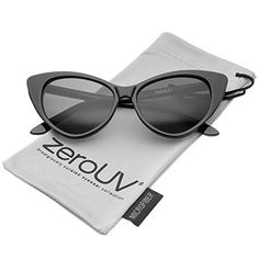 92b3662e365d zeroUV Womens Retro Oversized High Point Cat Eye Sunglasses 55mm Black  Smoke     Want