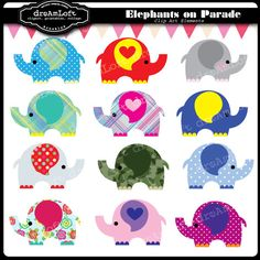 Elephant+Parade+Digital+Clipart+for+Personal+and+by+DreAmLoft,+$3.99